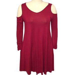 Dresses & Skirts - Cold Shoulder Belted Red Dress with pockets Sz Lrg